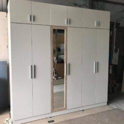 Tủ áo gỗ công nghiệp MDF chống ẩm 6 cánh có gương GHF-7075