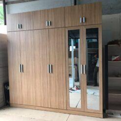 Tủ áo gỗ công nghiệp MDF chống ẩm 6 cánh có gương GHF-7087