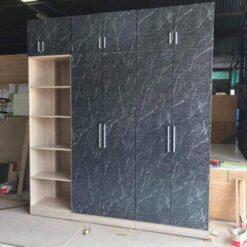 Tủ áo gỗ công nghiệp MDF chống ẩm phủ Melamin vân đá đen GHF-6990