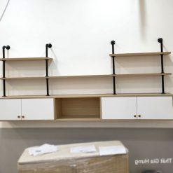 Kệ tivi treo tường gỗ công nghiệp kết hợp ống nước GHS-7841