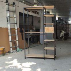 [Siêu Sale] Kệ treo quần áo khung sắt mặt gỗ GHF-8033